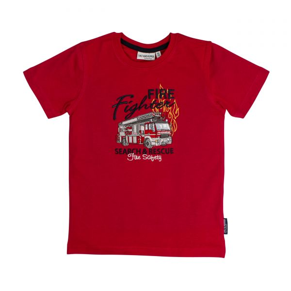 Salt and pepper T-Shirt Junge rot