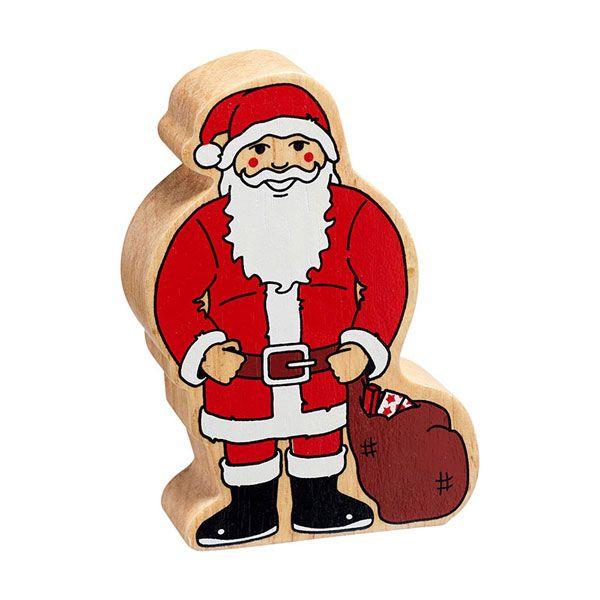 Holzfigur Nikolaus, Weihnachtsmann bedruckt