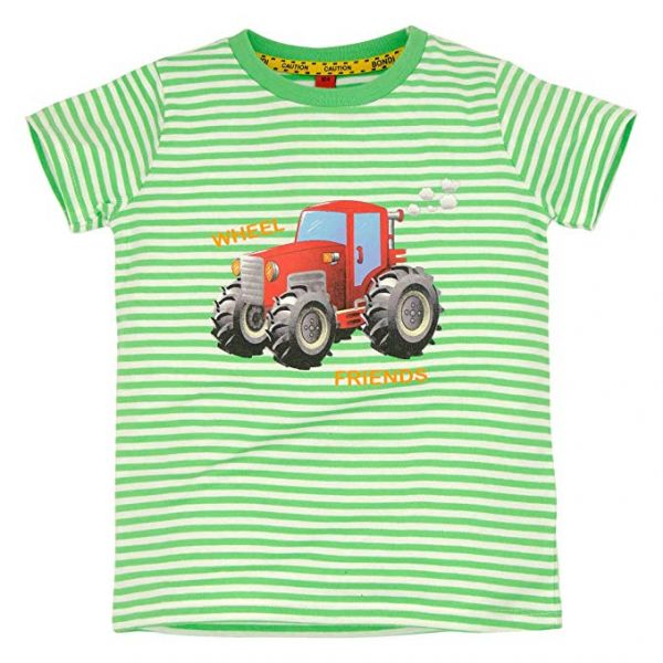 BONDI T-Shirt Geringelt ´Traktor`grün Junge