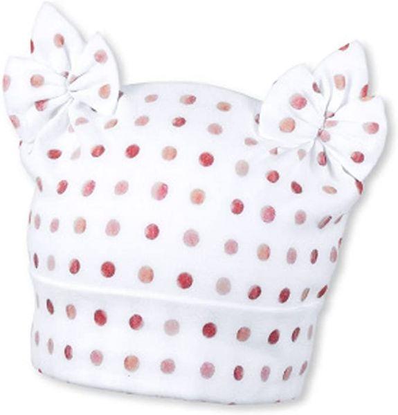 Sterntaler - Mütze Knotenmütze Baby Mädchen gepunktet, weiß