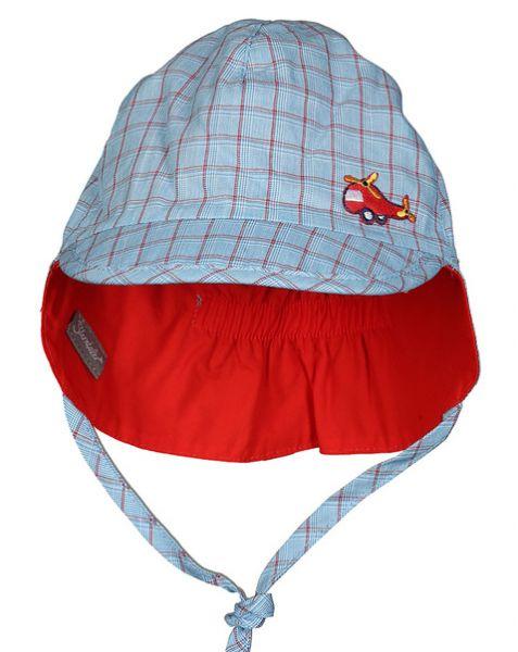 Sterntaler Wende-Schirmmütze mit Nackenschutz in hellblau/rot