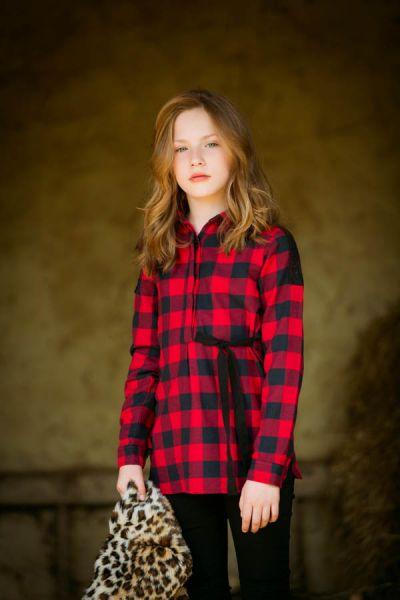 UBS2 Blusenkleid im Karo Look zum binden
