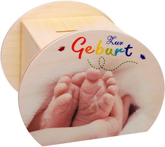 "Hess Spardose ""Geburt"" aus Holz"