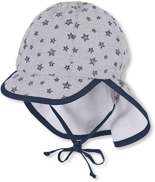 Sterntaler Schirmmütze mit Bindebändern und Nackenschutz, Rauchgrau